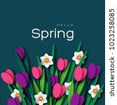 hello spring greeting card with ... | Shutterstock .eps vector #1023258085