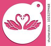 love swan stencil | Shutterstock .eps vector #1023259468