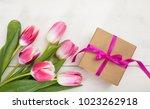 women's day. pink tulips...   Shutterstock . vector #1023262918