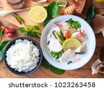 Stock photo thai galangal chicken soup in creamy coconut milk or tom kha gai famous traditional thai food 1023263458