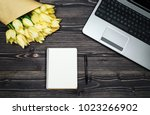 top view of blank notebook with ... | Shutterstock . vector #1023266902