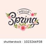 hello spring typography vector ... | Shutterstock .eps vector #1023266938