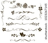 set of calligraphic floral... | Shutterstock .eps vector #1023267145