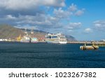 luxury cruiser in harbor with a ...   Shutterstock . vector #1023267382