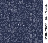 summer sea beach line doodle... | Shutterstock .eps vector #1023269332