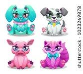 little cute cartoon animals set.... | Shutterstock .eps vector #1023269878