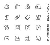 Stock vector line icon set of recycle rubbish and pollution editable stroke vector isolated at white 1023271972