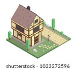 vintage isometric medieval... | Shutterstock .eps vector #1023272596