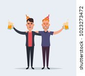 funny cartoon characters. happy ... | Shutterstock . vector #1023273472