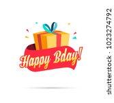 happy birthday shopping gift box | Shutterstock .eps vector #1023274792
