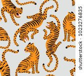 Seamless Pattern With Tigers