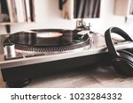 playing vinyl record template... | Shutterstock . vector #1023284332