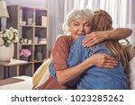 smiling granny hugging girl in... | Shutterstock . vector #1023285262