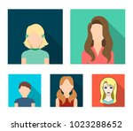 little girl with hairpins  dark ... | Shutterstock .eps vector #1023288652
