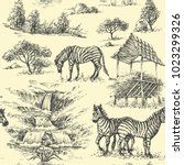 nature seamless pattern. zebra... | Shutterstock .eps vector #1023299326