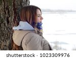 a young caucasian girl in a... | Shutterstock . vector #1023309976
