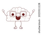 comic brain kawaii character | Shutterstock .eps vector #1023311128