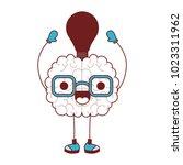 comic brain with bulb kawaii... | Shutterstock .eps vector #1023311962