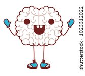 comic brain kawaii character | Shutterstock .eps vector #1023312022