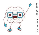 comic brain kawaii character | Shutterstock .eps vector #1023313078