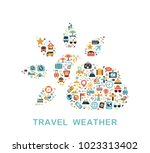 travel icons are grouped in sun ... | Shutterstock .eps vector #1023313402