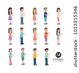 group of kids characters | Shutterstock .eps vector #1023315346