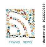 travel icons are grouped in rss ... | Shutterstock .eps vector #1023320386