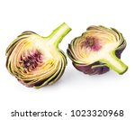 fresh artichokes isolated on... | Shutterstock . vector #1023320968