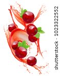 red currant in juice splash... | Shutterstock . vector #1023322552