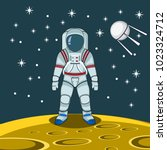 astronaut on moon vector... | Shutterstock .eps vector #1023324712