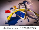 Small photo of Padlock and net cable over EU map, symbolizing the EU General Data Protection Regulation or GDPR. Designed to harmonize data privacy laws across Europe.