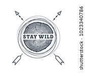 hand drawn travel badge with... | Shutterstock .eps vector #1023340786