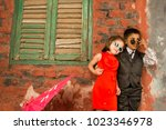 boy and girl children kids... | Shutterstock . vector #1023346978