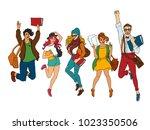 vector sketch young teen... | Shutterstock .eps vector #1023350506
