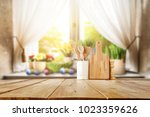 easter table with spring... | Shutterstock . vector #1023359626