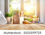 easter table with spring... | Shutterstock . vector #1023359725