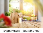 easter table with spring... | Shutterstock . vector #1023359782