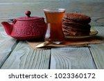 tea and chocolate chip cookies   Shutterstock . vector #1023360172