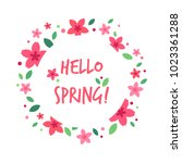 hello spring greeting card with ...   Shutterstock .eps vector #1023361288