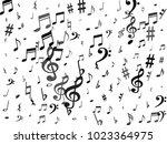 black flying musical notes... | Shutterstock .eps vector #1023364975