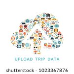 travel icons are grouped in... | Shutterstock .eps vector #1023367876