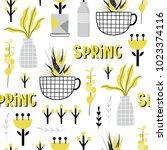 hand drawn yellow spring... | Shutterstock .eps vector #1023374116