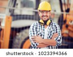 young businessman construction... | Shutterstock . vector #1023394366