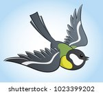 flying big titmouse  simple...   Shutterstock .eps vector #1023399202