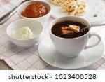 swedish breakfast with mini... | Shutterstock . vector #1023400528
