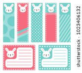 cute rabbit note sticker  note... | Shutterstock .eps vector #1023406132