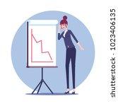 shocked businesswoman stands... | Shutterstock .eps vector #1023406135