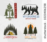 coniferous forest  mountains... | Shutterstock .eps vector #1023406258