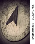 Close Up Of Ancient Sundial On...