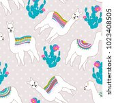 seamless pattern with cute... | Shutterstock .eps vector #1023408505